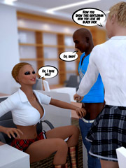 Two black studs handling hot blondies in the office