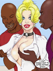 Super sex ywhite cartoon teacher with huge tits gonna be fucked by her black students.